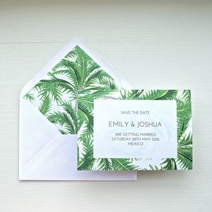 Tropical Palm Wedding Save The Date - save the date cards