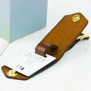 Leather Luggage Tag - frequent traveller