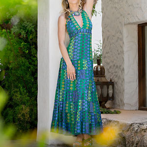 Cotton Halterneck Maxi Dress - women's fashion