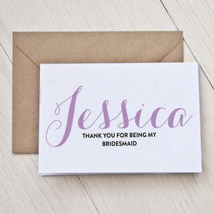 Personalised Bridesmaid Thank You Card - wedding, engagement & anniversary cards