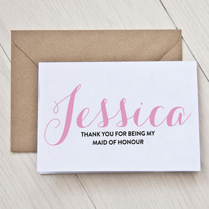 Personalised Maid Of Honour Thank You Card - wedding thank you gifts