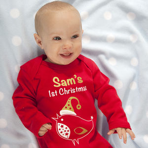 Personalised 'My First Christmas' Robin Baby Grow - baby's first christmas