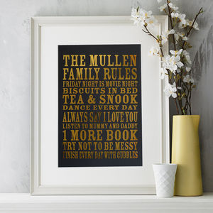 Personalised Family Rules Mother's Day Gift Print