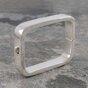 Contemporary Rectangular Solid Sterling Silver Bangle