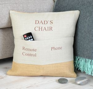 ' Dad's Chair ' Personalised Pocket Cushion - decorative accessories