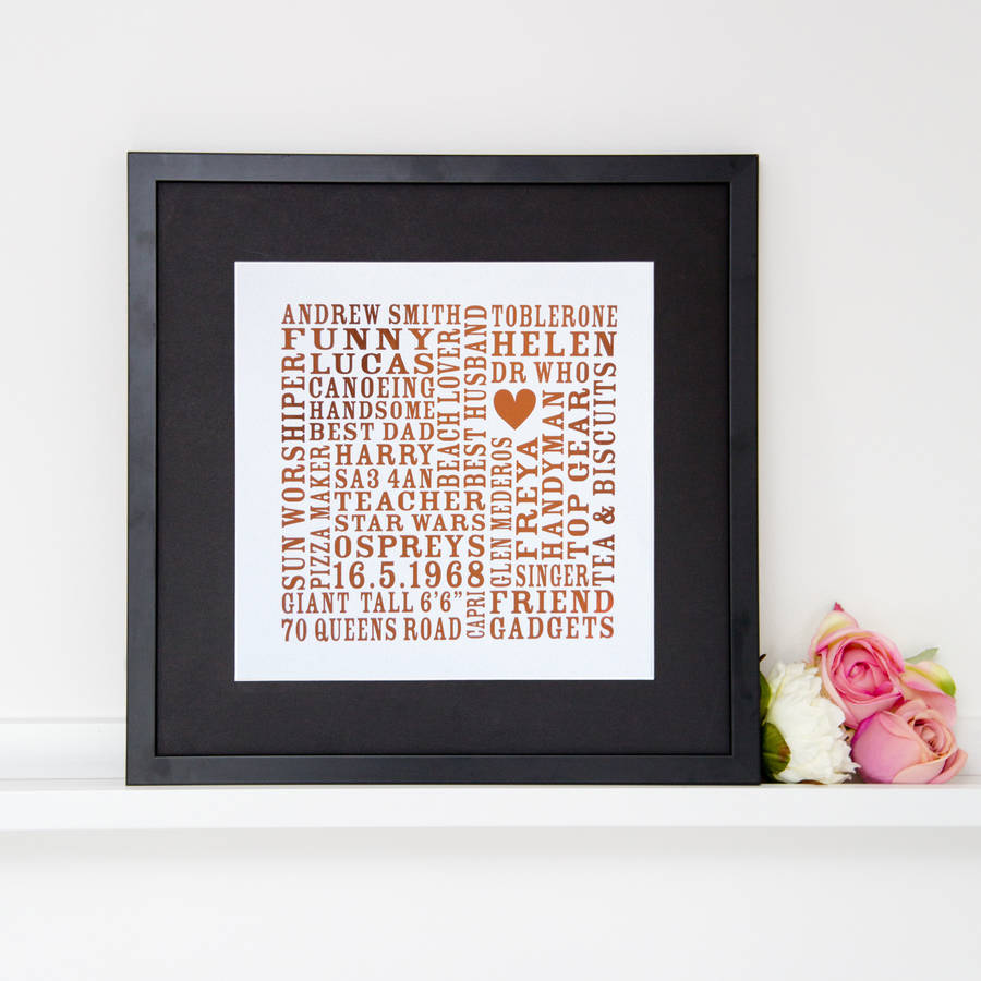 Personalised Metallic Word Art Print