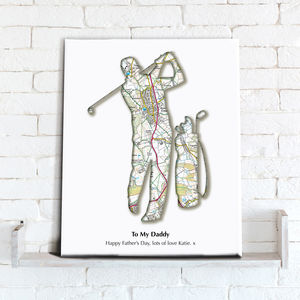 Personalised Golf Map Canvas Print - activities & sports