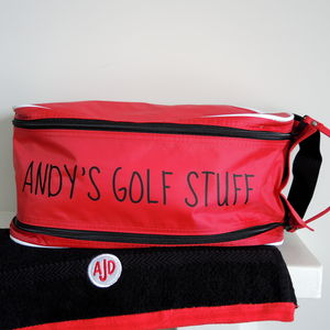 Personalised Golf Shoe Bag And Monogrammed Golf Towel