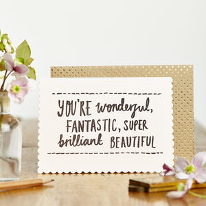 Luxe Wonderful Fantastic Card - all purpose cards, postcards & notelets