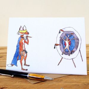Fox And Hare Circus Personalised Greeting Card