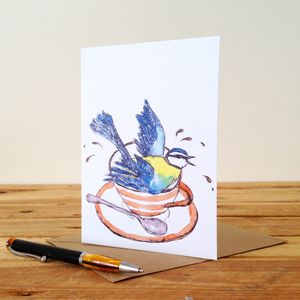 Bird In A Teacup Personalised Greeting Card