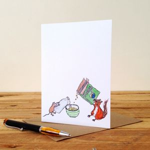 Mouse And Squirrel Personalised Greeting Card