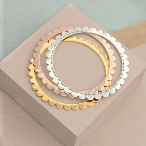 Personalised Scalloped Bangle - gifts for her