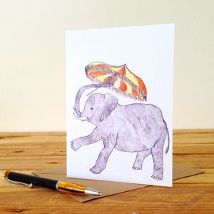 Elephant With Parasol Personalised Greeting Card