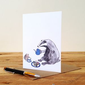 Badger And Hedgehog Personalised Greeting Card