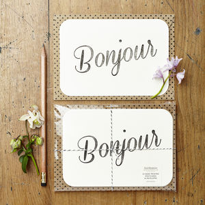'Bonjour' Notecards - world hello day