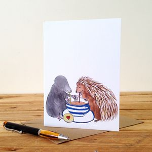 Mole And Hedgehog Personalised Greeting Card
