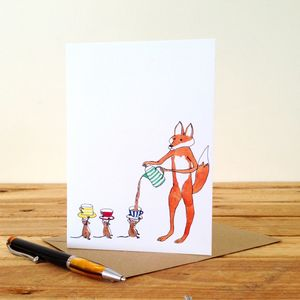 Fox And Mice Personalised Greeting Card