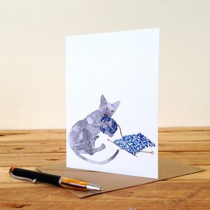 Cat With Knitting Personalised Greeting Card