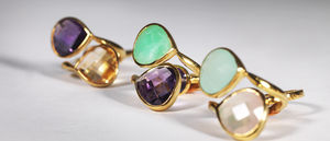 Gold Gemstone Duo Ring - women's jewellery