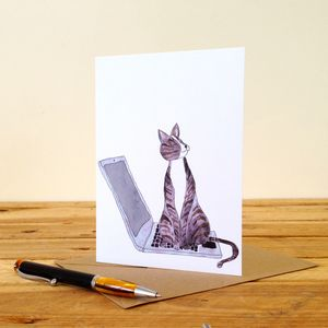 Cat On A Laptop Personalised Greeting Card