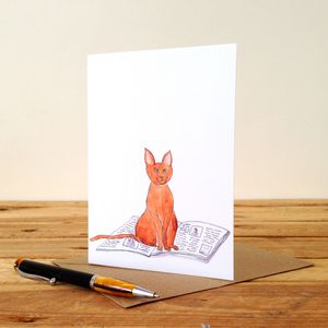 Cat On A Newspaper Personalised Greeting Card