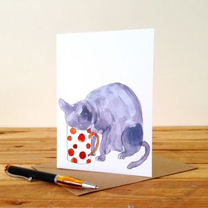 Cat Drinking Tea Personalised Greeting Card