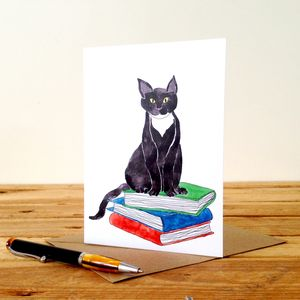 Black Cat On Books Personalised Greeting Card