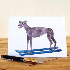 Greyhound On Skis Personalised Greeting Card