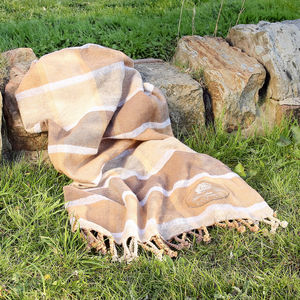 100% Cotton Mocha Brown Checked Picnic Rug