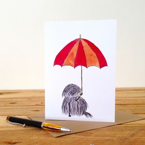 Dog With Umbrella Personalised Greeting Card