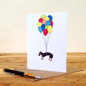 Dachshund With Balloons Personalised Greeting Card