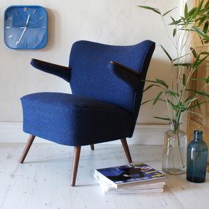 Vintage 1950s Tweed Elbow Armchair - living room