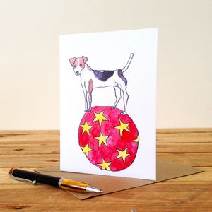 Dog On A Ball Personalised Greeting Card