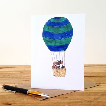 Dogs In A Hot Air Balloon Personalised Greeting Card