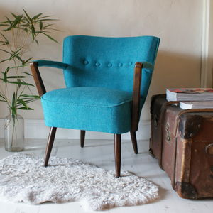 Vintage 1950s Button Back Armchair - armchairs