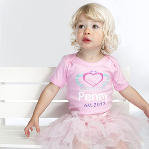 Personalised Pink Princess Baby Grow With Name