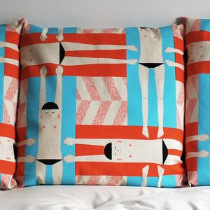Eva Swimmer Screen Printed Cushion - patterned cushions