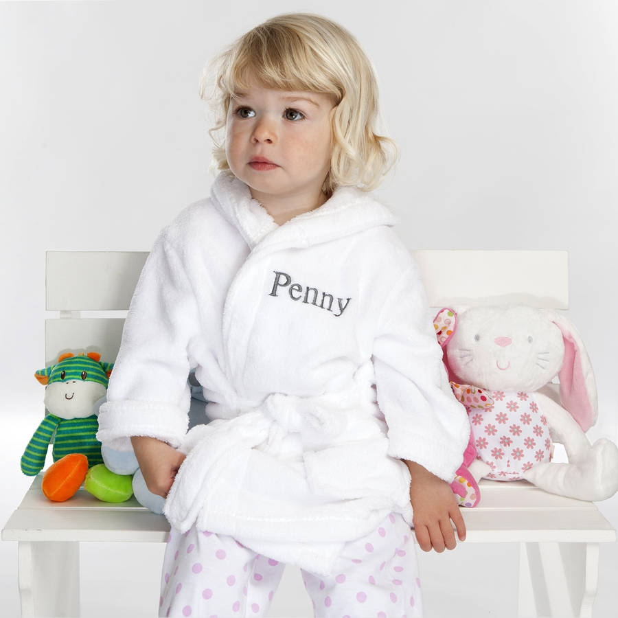 personalised soft baby / child\'s dressing gown in white by a type of ...