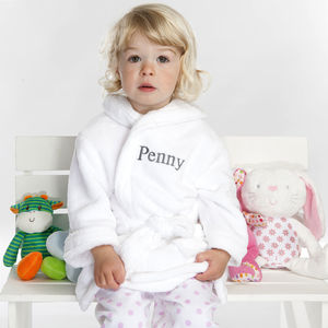 Personalised Soft Baby / Child's Dressing Gown In White - bathtime