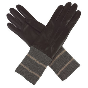 Marnie. Women's Cashmere Lined Leather Gloves With Cuff