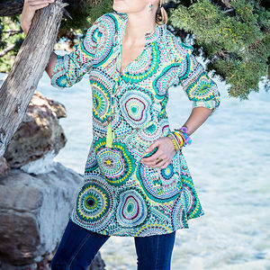 Cotton Summer Tunic Shirt - beachwear