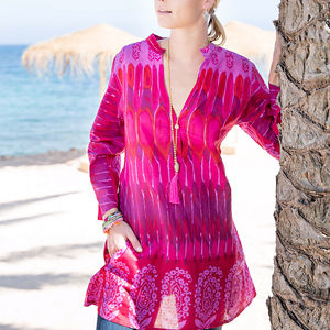 30% Off Pink Block Print Cotton Tunic - swimwear & beachwear