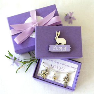 Personalised Lilac Bunny Charm Necklace - children's jewellery