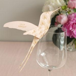 Deco Hummingbird Wine Glass Place Card - wedding stationery