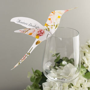 Floral Affair Hummingbird Wine Glass Place Card - place cards