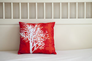 Tree On Orange Pattern Cushion Cover - living room