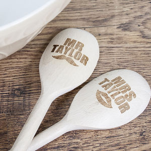 Personalised 'Mr And Mrs' Wooden Spoons - wedding favours