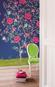 Blue Morning Glory Floral Wallpower - home decorating