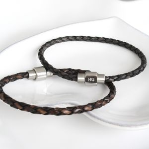 Kj Man Personalised Plaited Leather Slim Bracelet